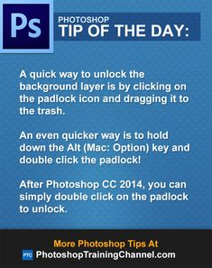 A quick way to unlock the background layer is by clicking on the padlock icon and dragging it to the trash.  An even quicker way is to hold down the Alt (Mac: Option) key and double click the padlock!  After Photoshop CC 2014, you can simply double click on the padlock to unlock.