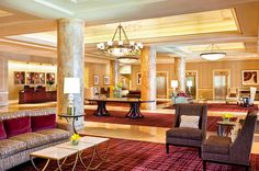 We love the rich color palette and luxe design of the lobby in St. Louis City Center Hotel.