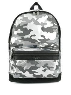MICHAEL KORS MICHAEL KORS CAMOUFLAGE PRINT BACKPACK - GREY. #michaelkors #bags #backpacks Camouflage Backpack, Michael Kors Men, Logo Stamp, Women Wear, Backpacks, Shoulder Bag, Mens Fashion, Zip, Grey
