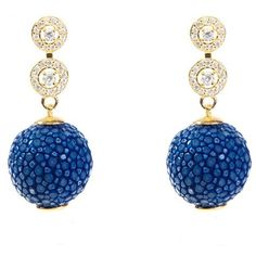 Latelita London - Stingray Ball Earring With Zircon Royal Blue (2.731.910 IDR) ❤ liked on Polyvore featuring jewelry, earrings, sparkly earrings, sparkle jewelry, zircon jewelry, zircon earrings and earrings jewellery