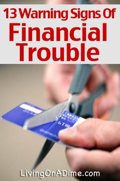 Many people get into financial trouble without even realizing it. Here are 13 warning signs of financial trouble to help you see if you need to make changes! Saving Ideas, Money Saving Tips, Career Aptitude Test Free, Money Problems, Career Quotes, A Dime, Financial Tips, Warning Signs, The Borrowers