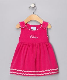Take a look at this Hot Pink Personalized Rickrack Dress - Infant, Toddler & Girls by Princess Linens on #zulily #fall today!