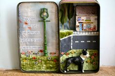Meet me at the Corner, Boston Terrier Dog Storybox, by Little Burrow Designs. Upcyled sculpture from vintage and antique objects and textiles, in to whimsical vignettes. Altered Tins, Altered Art, Mint Tins, Matchbox Art, Tin Art, Altoids Tins, Arts And Crafts, Diy Crafts, Assemblage Art