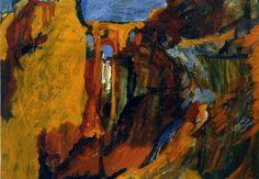 """David Bomberg 1890-1957  Ronda Bridge, The Tajo c.1954-57  oil on board 18½""""x25½""""  Private collection"""