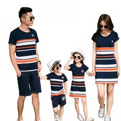 Matching Outfits 2018 summer Fashion Striped T-shirt Outfits Mother And Daughter Dress. Family Matching Outfits 2018 summer Fashion Striped T-shirt Outfits Mother And Daughter Dresses And Father Son Baby Boy Girl Baby Outfits, Mommy And Me Outfits, Summer Outfits, T Shirt And Shorts, Shirt Outfit, Outfits Madre E Hija, Korea Fashion, Kids Fashion, Style Fashion