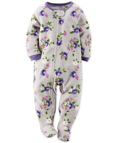 Carter's Baby Girls' One-Piece Footed Floral-Print Pajamas