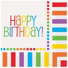 16 Rainbow Party Lunch Napkins/Rainbow Party Supplies: One 16 count package of inch Rainbow Happy Birthday Lunch Napkins. Wish someone a colourful Happy Happy Birthday Text, Birthday Lunch, Rainbow Birthday Party, Happy Birthday Parties, Birthday Party Themes, Birthday Ideas, 3rd Birthday, Special Birthday, Birthday Memes