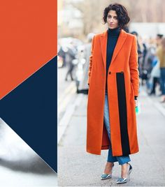 @Who What Wear - Orange + Navy + Silver                 On Yasmin Sewell: Peridot London coat; Pringle of Scotland sweater; Prada shoes.  Get The Look: Topshop Tall Wool Boyfriend Coat ($178); Gap Eversoft Turtleneck Sweater ($18) in Navy; MICHAEL Michael Kors Elisa Pumps ($135).  Now that you've been schooled in spring color theory, here's how to update your wardrobe for the season.  Photo courtesy of Stockholm Street Style