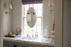 Urban Grace Interiors - bathrooms - Anthropologie Brigantine Mirror, Visual Comfort Lighting Bryant Sconce, West Elm Hammam Stripe Hand Towe...