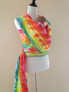 Ready to Ship 6 yard Ice Dyed Rainbow Baby Wrap Carrier by Bibetts, $50.00