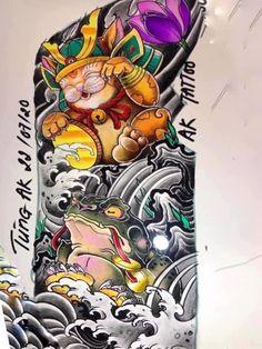 Japan Tattoo Design, Cat Tattoo Designs, Japanese Tattoo Designs, Frog Tattoos, Mermaid Tattoos, Body Art Tattoos, Japanese Flower Tattoo, Japanese Sleeve Tattoos, Lucky Cat Tattoo