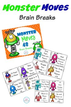Brain Breaks - Monster Moves 48 Brain Breaks to get the kids up and moving! #teacherspayteachers #tpt #brainbreaks