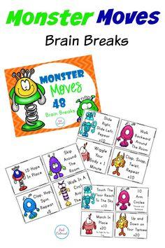 Brain Breaks - Monster Moves 48 Brain Breaks to get the kids up and moving!  #teacherspayteachers #tpt #brainbreaks