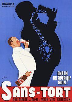 Sans-Tort. 'Healthy Aperitif' http://www.vintagevenus.com.au/collections/drinks/products/vintage_poster_print-d267