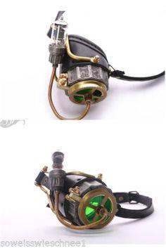 RQ-BL-Steampunk-LED-Leder-Monokel-Brille-Goggles-Leather-Gothic-P102-Bronze-Gold
