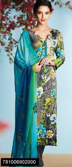 Blue digital printed salwar suit for women with chiffon digital printed dupatta
