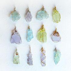 12 cultured sea glass pendants blue, green, purple OOAK
