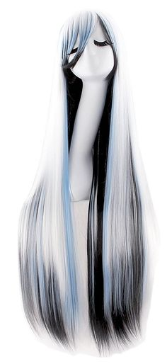 "Anime Long Straight-Anime Wig-40"" Inch/ 100cm-Color-White/Blue/Black-Womens.  Imported: Takes up 20-25 days for arrival.  Material : 100% Top Kanekalon Fiber  Adjustable Monofilament Net  Length: 40"" (100 cm)  Textile: Straight  Fits most all.  Please review shipping charges and det..."