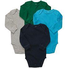 Carter's Boys 4 Pack Long Sleeve Bodysuits