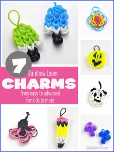 7 Rainbow Loom charms for kids to make  www.clubchicacircle.com #rainbowloom  #kidscrafts