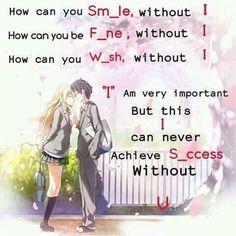 So sweet! Exactly for Shigatsu wa Kimi no Uso. For Kousei and Kaori. Sad Anime Quotes, Manga Quotes, Sad Quotes, Life Quotes, Inspirational Quotes, Cute Love Quotes, Awesome Quotes, Couple Quotes, Couple Texts