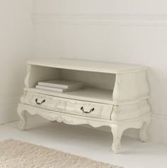 STUNNING SHABBY CHIC WHITE PAINTED FRENCH AMOIRE TV CABINET UNIT WITH 1 DRAWER | eBay