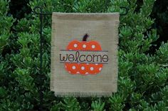 Personalized Burlap Garden Flag Split Pumpkin Fall Welcome Flag on Etsy, $25.00