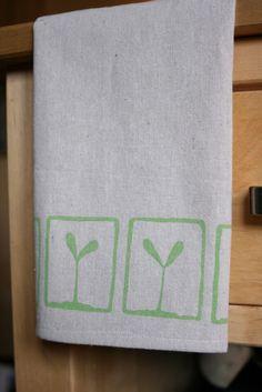 Seedling Hand Printed Tea Towel. $10.00, via Etsy.