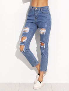Ripped Denim Jean Pants with High Ankle Cut Hip Size(Cm): Waist(Cm): Size Available: S,M,L,XL Thigh(Cm): Waist Type: Mid Waist Pant Length: Cropped Fabric: Fabric has no stretch Season: Summer Type: Jeans Pattern Type: Rippe Denim Look, Jeans Denim, Cut Jeans, Jeans Pants, Jeans Dress, Cropped Jeans, Pink Jeans, Denim Style, Blue Pants