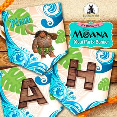 Maui Moana Banner - Maui Party Banner - Maui Moana Printable Banner - Moana Party Supplies - Maui Moana - Maui Birthday Party - Maui Garland de LythiumArt en Etsy