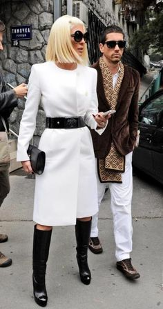 Jelena Karleusa, love this white coat with black belt~
