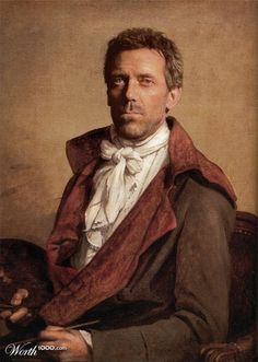 Jane Austen Today: Regency Beauty Fashion Show - Hugh Laurie in Regency garb. This outfit is not from the show but he had a great cameo as Mr Palmer in Sense and Sensibility. Classic Paintings, Historical Painting, History Painting, Design Crowd, Laurie, Renaissance Portraits, Art, Portrait, David
