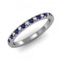 Pavé set Blue Sapphire & Diamond Ring in 18K White Gold.