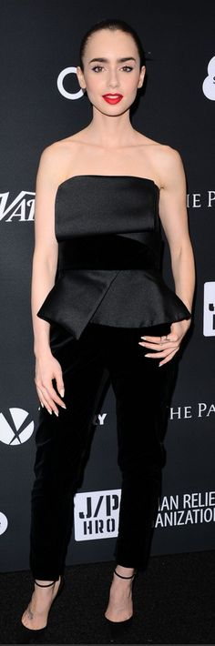 573ca2cb8bdf Who made Lily Collins  black pumps and strapless peplum jumpsuit  Lily  Collins Style