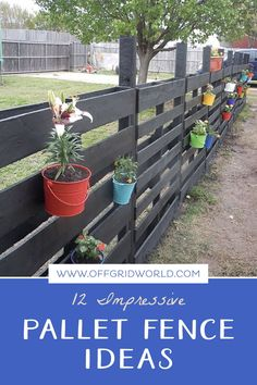 Pallet fence ideas for those looking to build a cheap garden fence, yard fence, or whatever else you'd need a fence for! DIY pallet fences can be beautiful and easy to build. Cheap Garden Fencing, Small Garden Fence, Backyard Fences, Easy Garden, Garden Fences, Decorative Garden Fencing, Fenced In Yard, Pallet Privacy Fences, Wood Pallet Fence