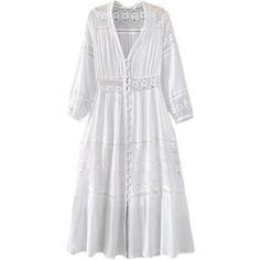 'Vinnie' Lace Pleated V-neck Maxi Dress (1,530 MXN) ❤ liked on Polyvore featuring dresses, v neckline dress, lace dress, v-neck maxi dresses, white lace dresses and white maxi dress
