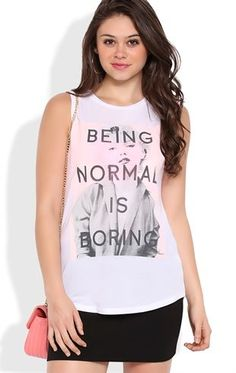 """Deb Shops  muscle tank with """"being normal is boring"""" Marilyn screen"""