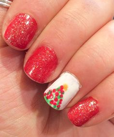 CHRISTMAS NAILS round two, just red gold white and green