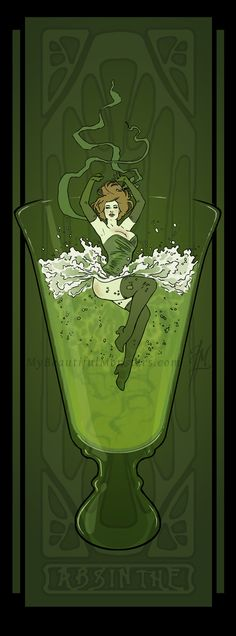Art Nouveau Absinthe Poster by Lily McDonnell, ~MyBeautifulMonsters on deviantART