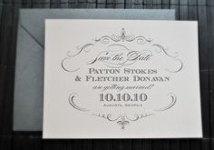 1943 Wedding Save the Date- Pale Pink and Pewter Silver. $1.75, via Etsy. Love the simplicity!