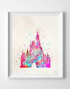 Cinderella Castle Print Disney Watercolor Type 1 by InkistPrints