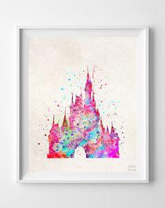 Cinderella Castle Print Disney Watercolor Type 1 by InkistPrints