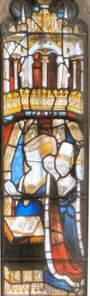Elizabeth Woodville and her children; stained-glass window at Little Malvern Priory
