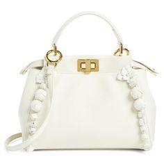 Women's Fendi Mini Peekaboo Floral Leather Satchel ($4,250) ❤ liked on Polyvore featuring bags, handbags, white, white leather purse, hand bags, leather satchel, leather satchel handbags and leather hand bags