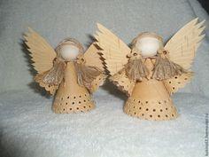 Купить кукла-ангел - бежевый, береста, бусины из дерева, бисерное украшение, ангелы