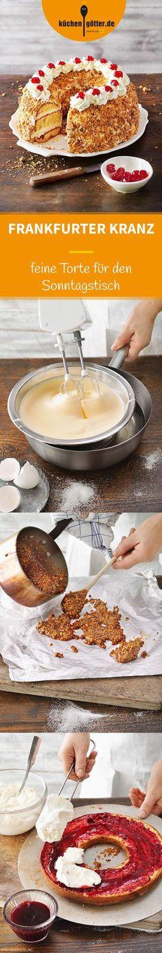 FRANKFURTER KRANZ - Unsere Torte »krönt« die Kaffeetafel im wahrsten Sinne des Wortes. Mit Krokantgold und Kirschjuwelen verziert, erinnert ihr Aussehen an ein wahres Schmuckstück.