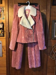 womens 70 s vintage pink mauve suede jacket and hiphugger bellbottoms pants  USA 409b6e00bace