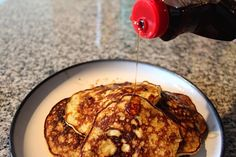 Easy Breakfast very healthy & low carb. 2 ingredient pancakes : 2 eggs, 1 mashed banana; mix together and cook in pan till done. Would be amazing with blueberries added! (or chocolate chips)