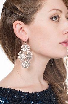 Janna Conner silver laser cut lace earrings