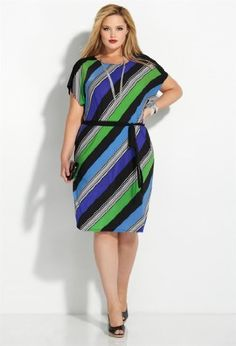 Avenue Plus Size Blue Bias Stripe Belt Dress Belted Dress, Striped Dress, Curvy Fashion, Plus Size Fashion, Womens Fashion, Plus Size Dresses, Plus Size Outfits, Summer Dresses With Sleeves, Mode Glamour